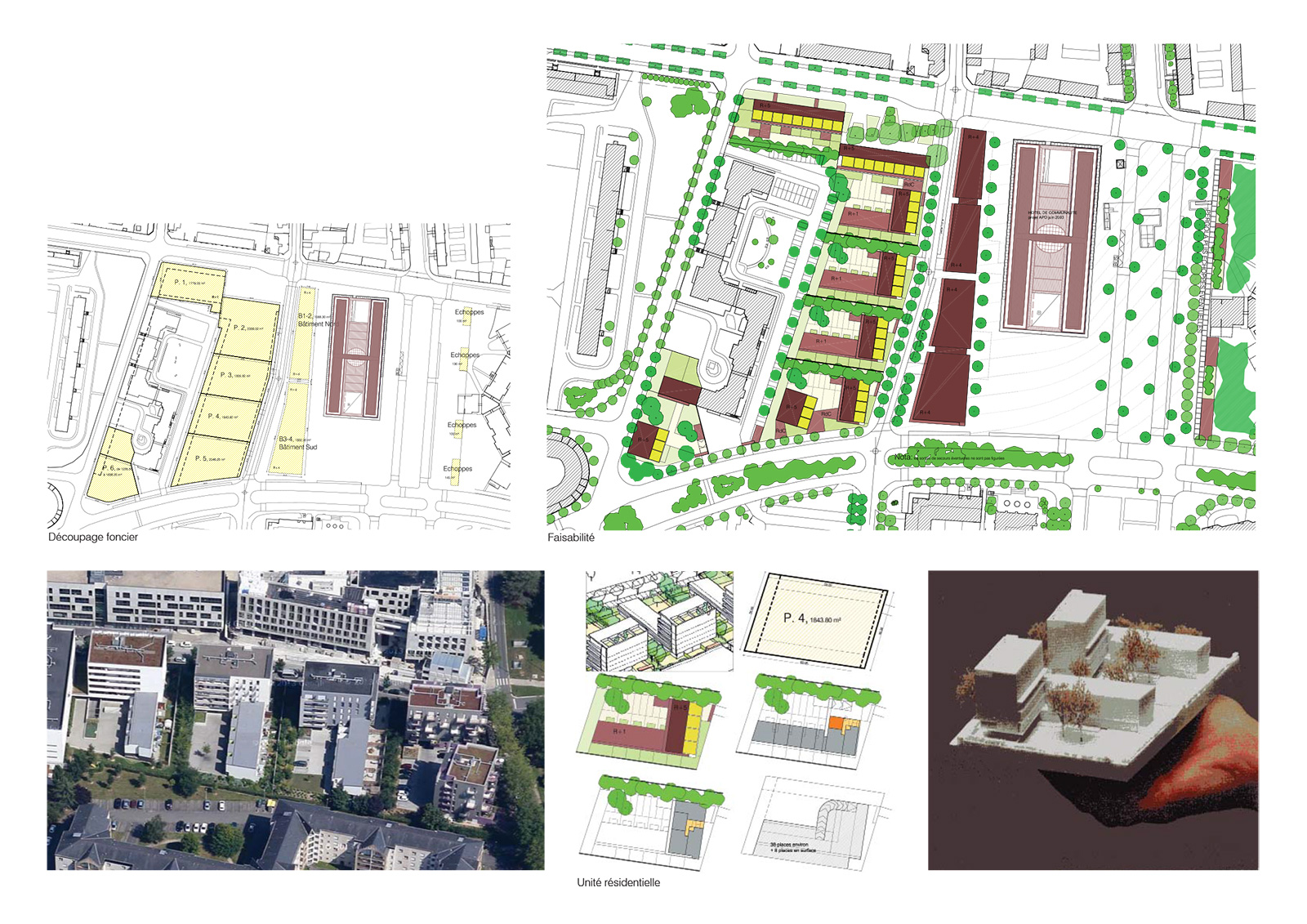 Plan de la ZAC et principe d'unité résidentielle combinant plot et maisons autour d'une cour.