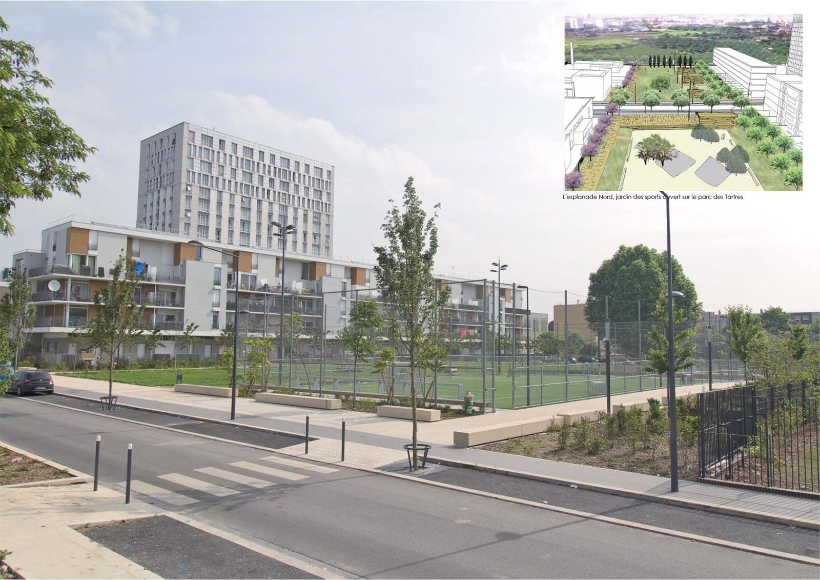 L'esplanade Nord, « jardin des sports » ouvert sur le parc des Tartres - à gauche la Maison du temps libre (architecte G. Le Penhuel)