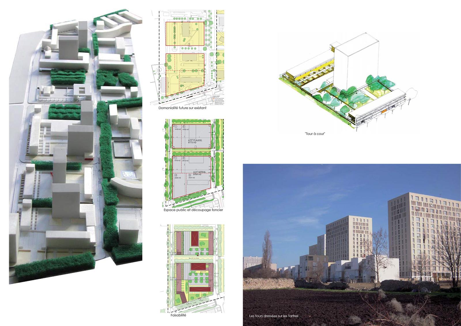 """Entre la rue G. Sand et le parc des Tartres, Les """"tours à cour"""" - L'intégration urbaine des tours dans un tissu de bord de parc"""